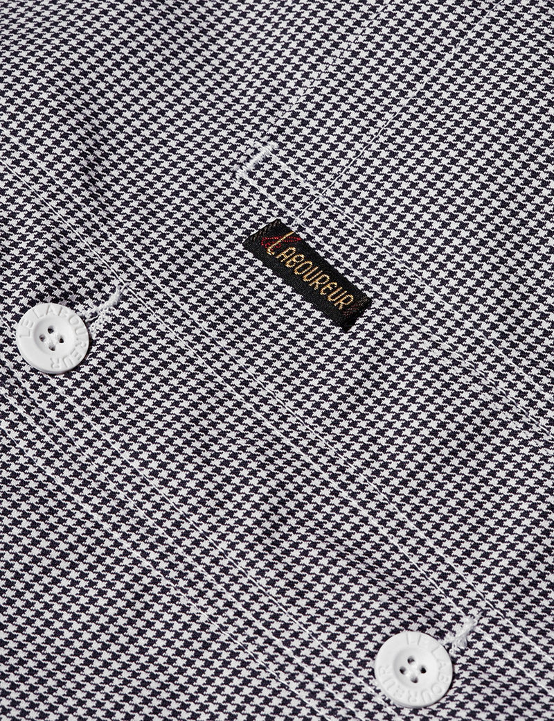 Le Laboureur Houndstooth Cotton Work Jacket - Black/White