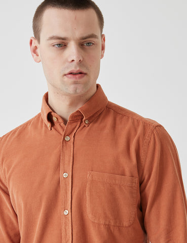 Portuguese Flannel Lobo Shirt (Micro Cord) - Brick Orange
