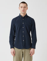 Portuguese Flannel Lobo Shirt (Cord) - Navy Blue