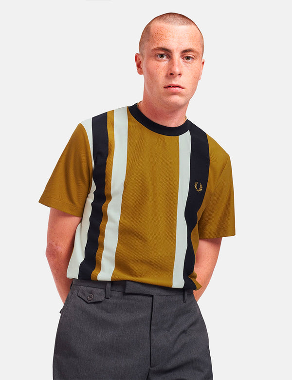 Fred Perry Striped Pique T-Shirt - Dark Caramel