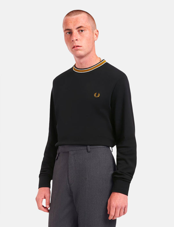 Fred Perry Tramline Tipped T-Shirt - Black