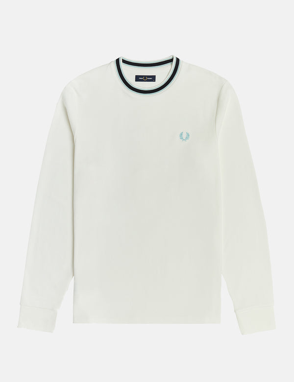 Fred Perry Tramline Tipped T-Shirt - Snow White