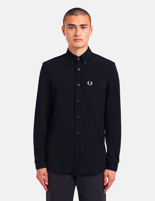 Fred Perry Pique Texture Shirt - Navy Blue