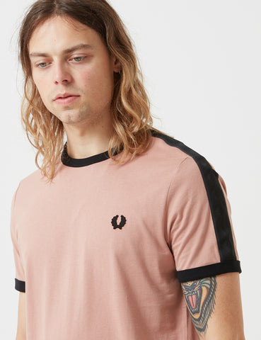 Fred Perry Tonal Taped Ringer T-Shirt - Grey/Pink