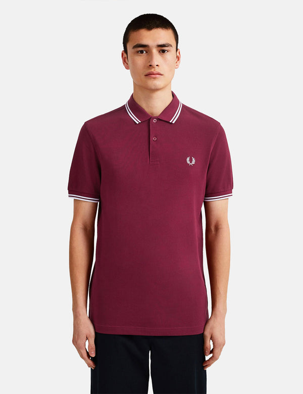 Fred Perry Twin Tipped Polo Shirt - Port/White/White