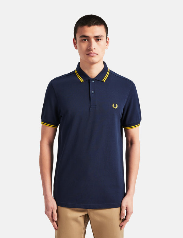 Polo Fred Perry Twin Tipped - Bleu Carbone