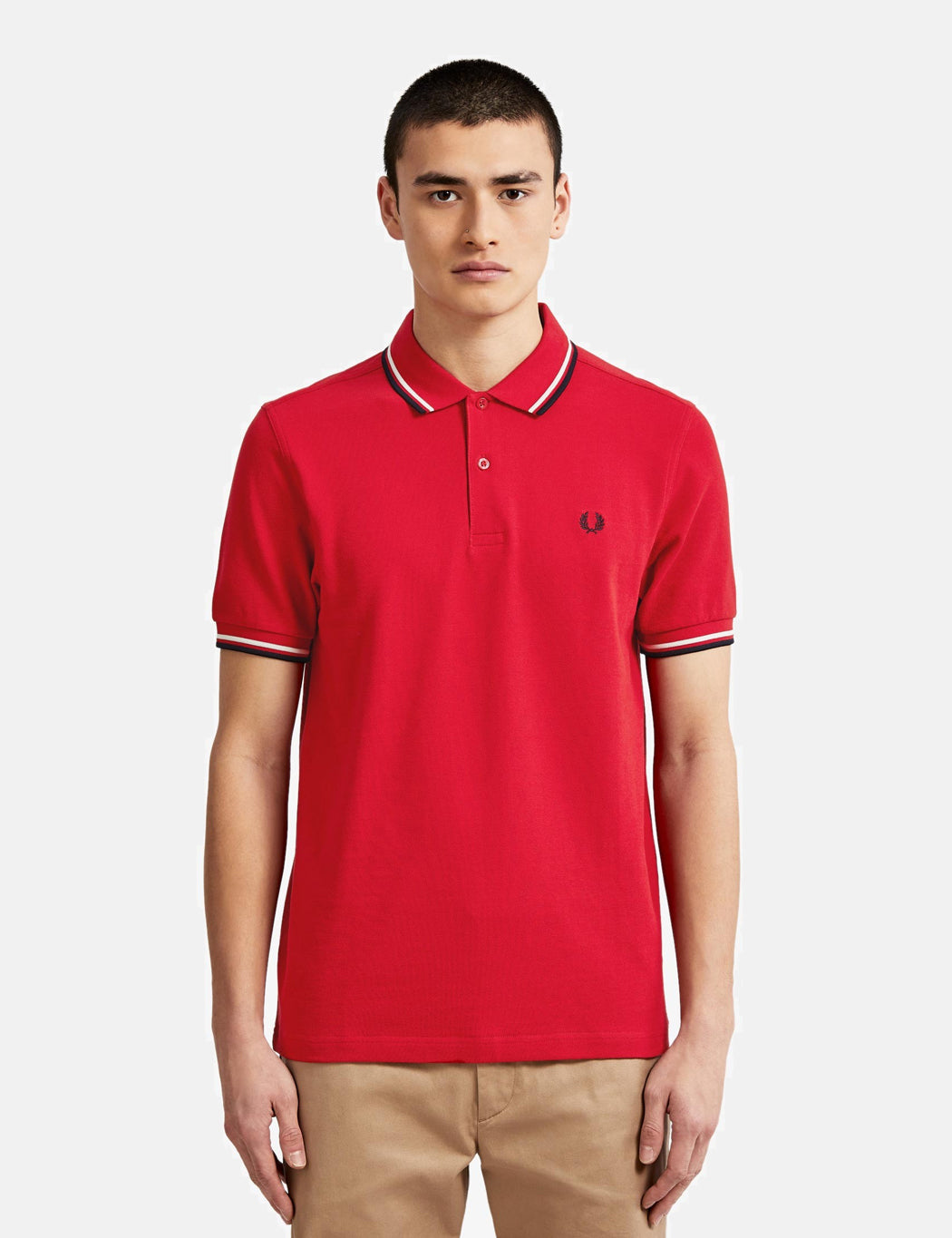 7df1f5b9 Fred Perry Twin Tipped Polo Shirt - Winter Red/Snow White/Navy ...