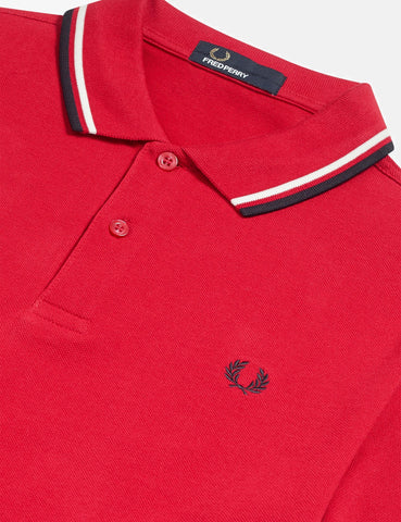 Fred Perry Twin Tipped Polo Shirt - Winter Red/Snow White/Navy