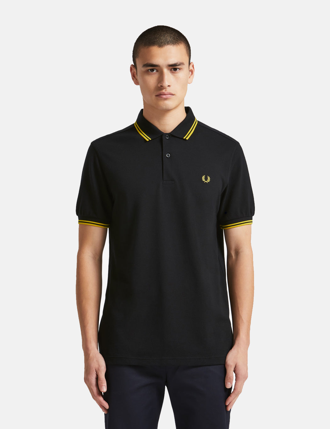 Fred Perry Twin Tipped Polo Shirt - Black/New Yellow | URBAN EXCESS.