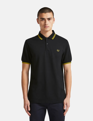 Fred Perry Twin Tipped Polo Shirt - Black/New Yellow