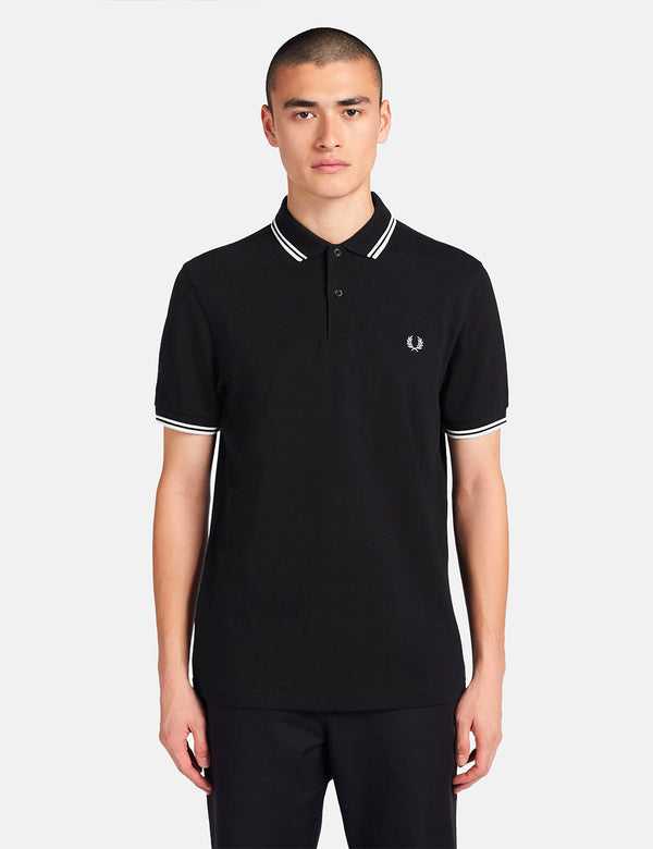 Fred Perry Twin Tipped Polo Shirt - Black/Porcelain/Porcelain