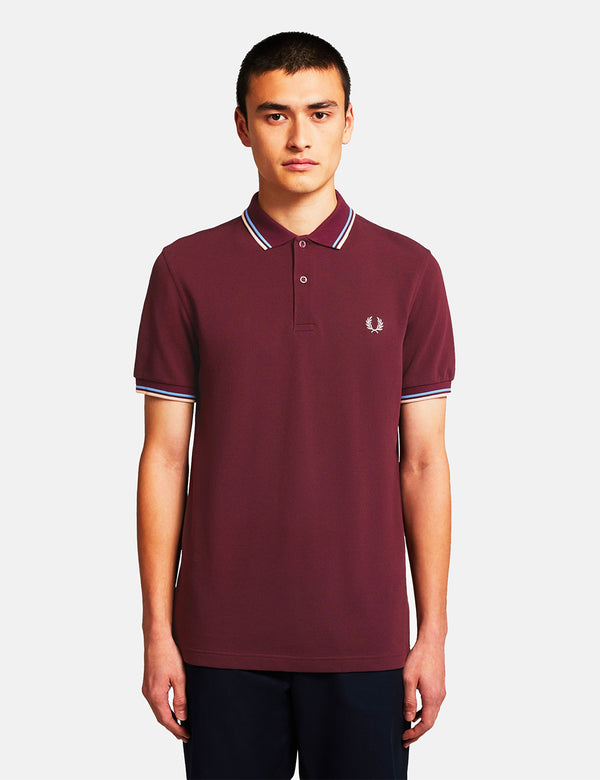 Fred Perry Twin Tipped Polo Shirt - Mahogany/Sky/Natural