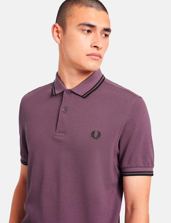 Fred Perry Twin Tipped Polo Shirt - Black Plum/Hunting Green