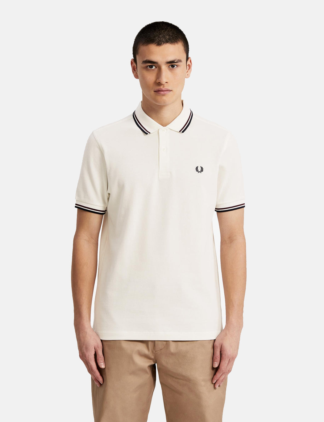 dec81fcd Fred Perry Twin Tipped Polo Shirt - Snow White/Shiraz | URBAN EXCESS.