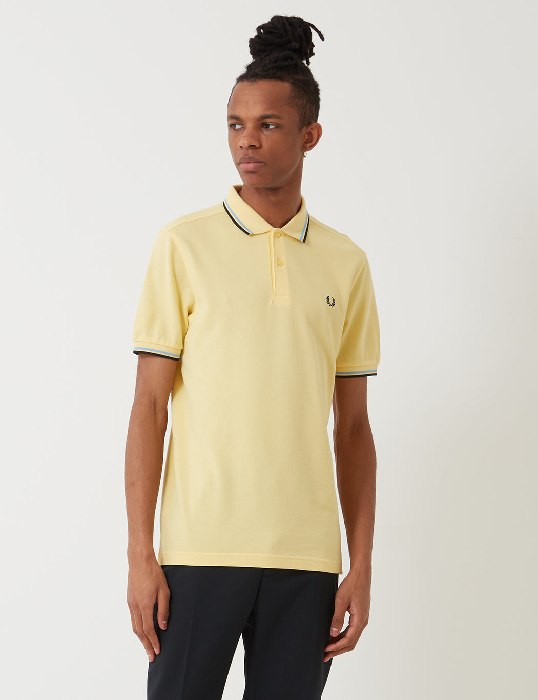 c9221cdb2 Fred Perry Twin Tipped Polo Shirt - Soft Yellow Summer Blue Black ...
