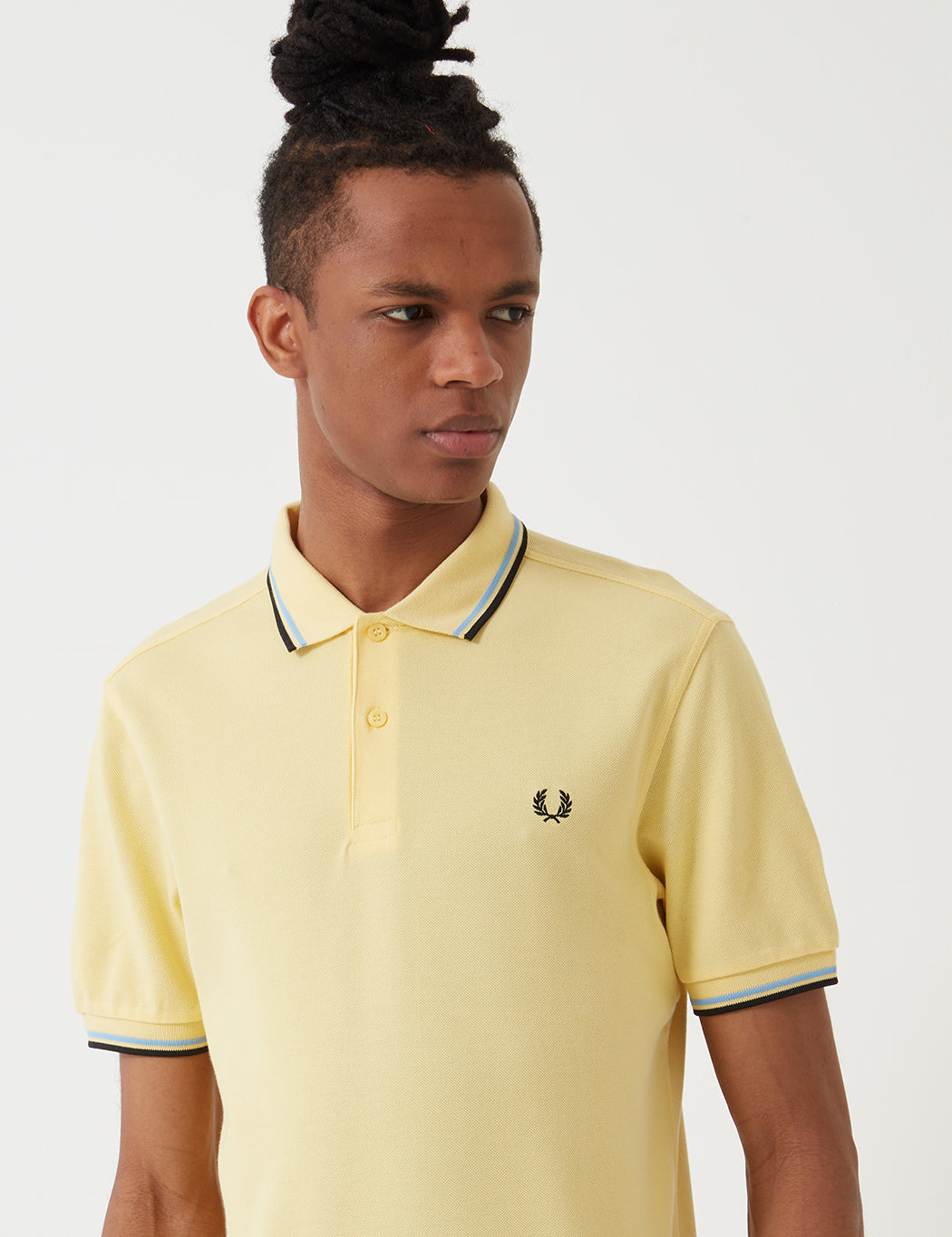 45e2f6be3 Fred Perry Twin Tipped Polo Shirt - Soft Yellow/Summer Blue/Black
