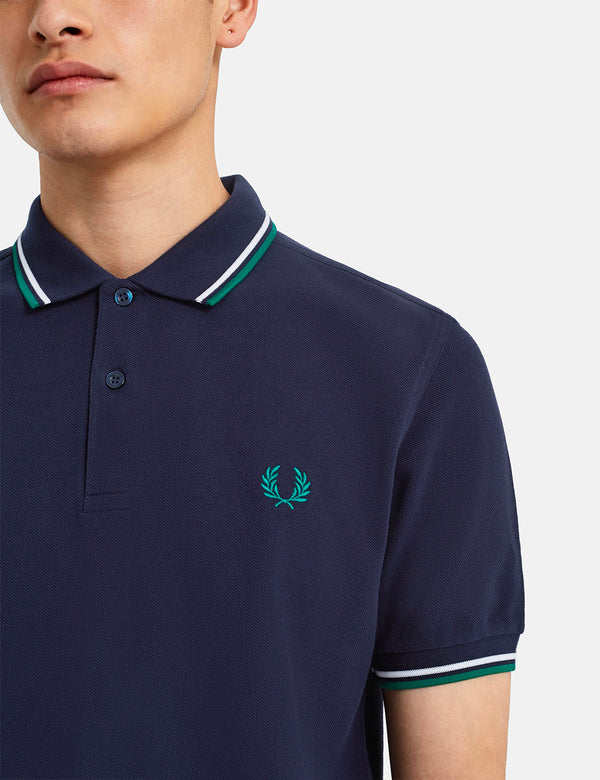 Fred Perry Twin Tipped Polo Shirt - Carbon Blue/White/Raf Green