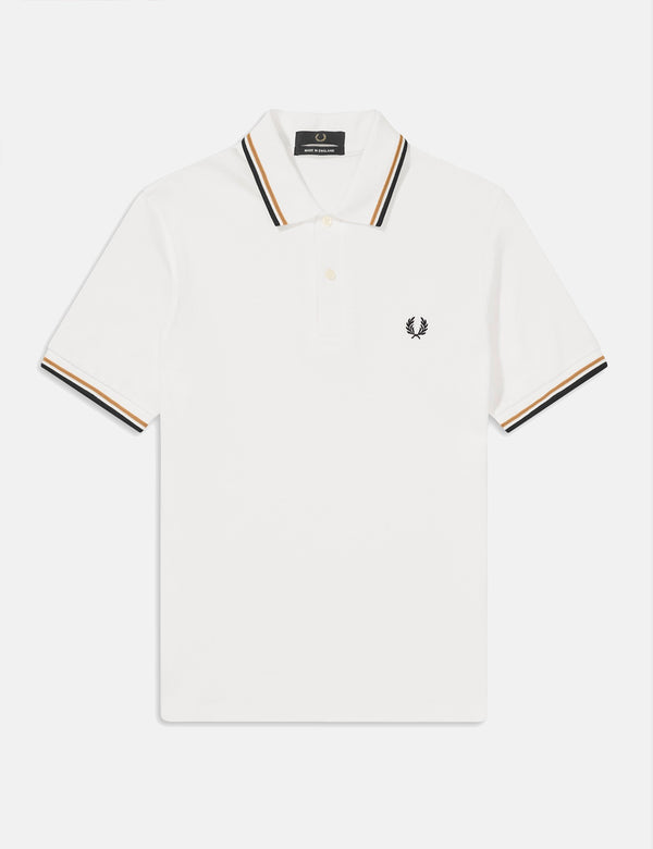 Polo Fred Perry Twin Tipped - Blanc Neige/Or/Noir