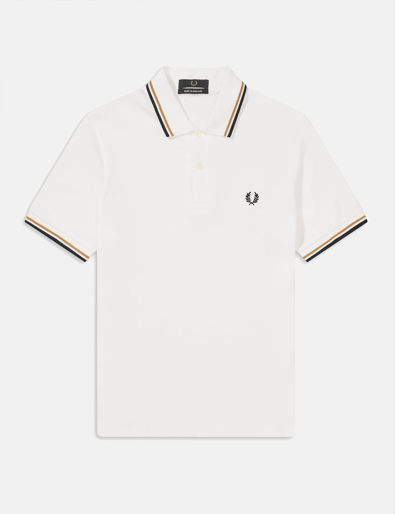Fred Perry Twin Tipped Polo Shirt - Snow White/Gold/Black