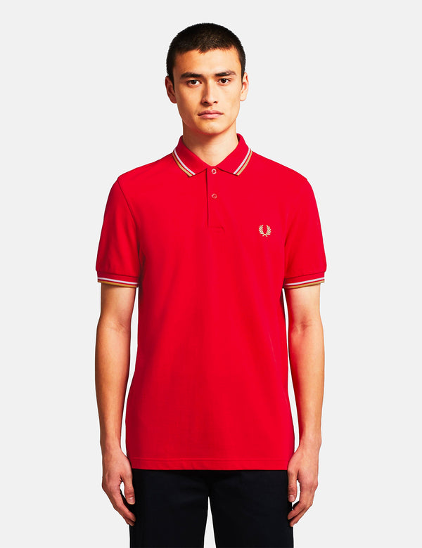 Fred Perry Twin Tipped Polo Shirt - Jester Red/White/Champagne