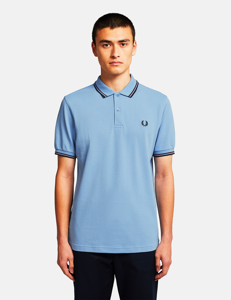 Fred Perry Twin Tipped Polo Shirt - Sky/Mahogany/Navy