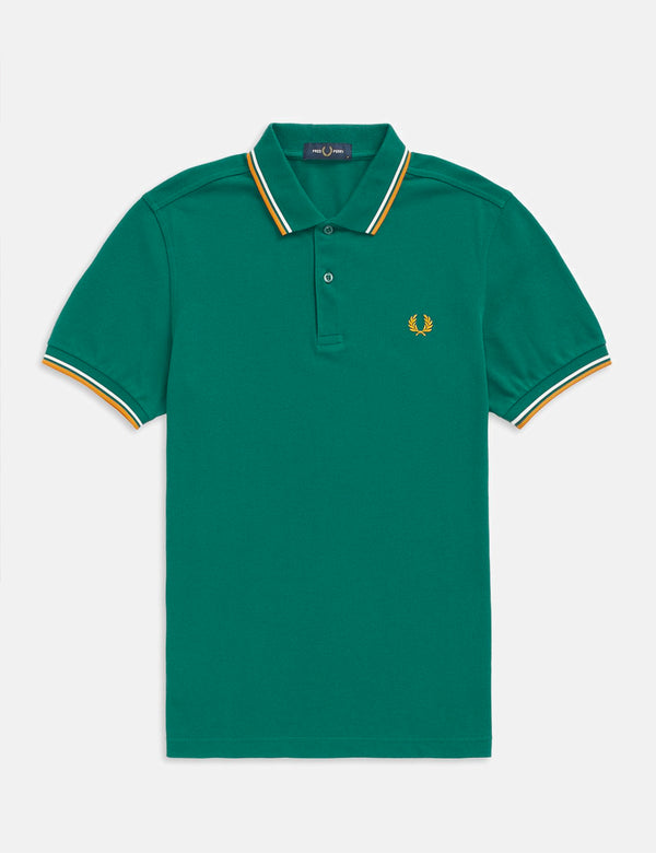 Fred Perry Twin Tipped Polo Shirt - Light Petrol/Snow White/Amber