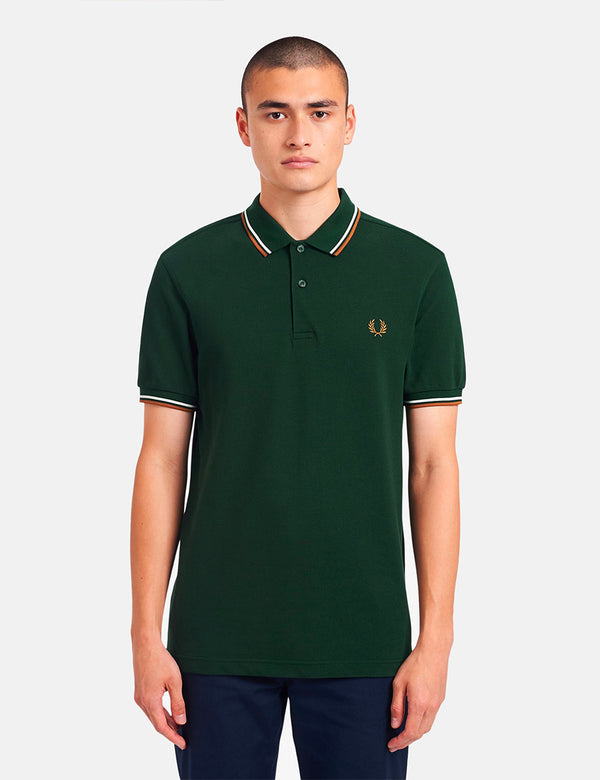 Fred Perry Twin Tipped Polo Shirt - Evergreen/Snow White/Dark Caramel