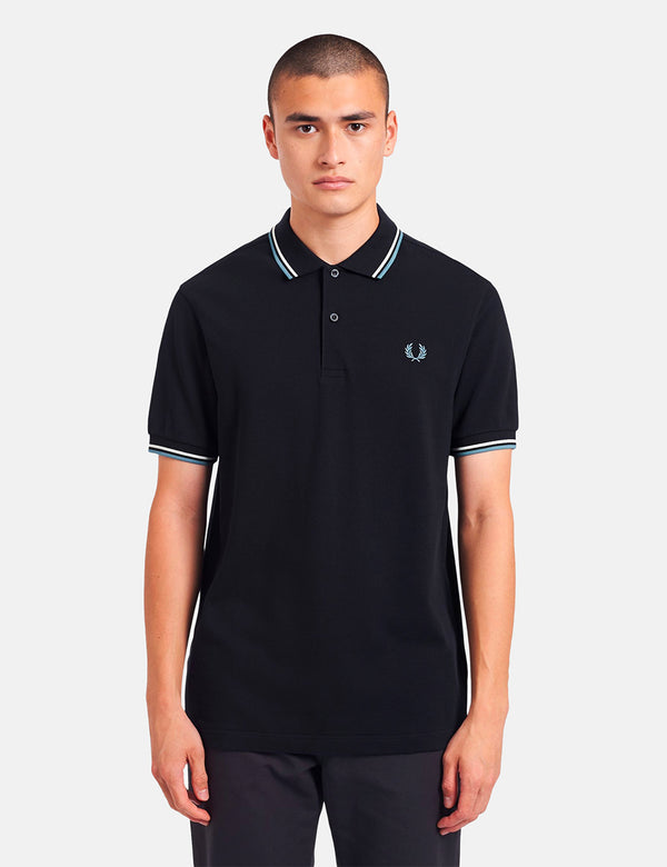 Fred Perry Twin Tipped Polo Shirt - Navy/Snow White/Smoke Blue