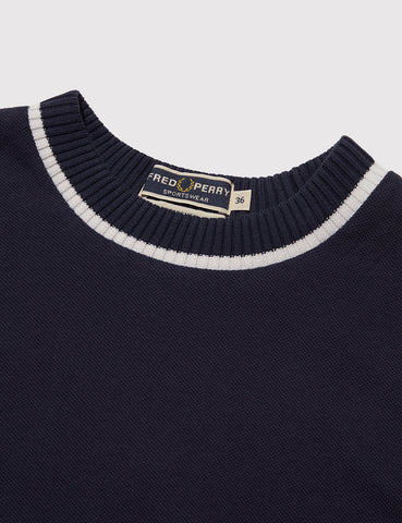 Fred Perry Crew Neck Pique T-Shirt - French Navy