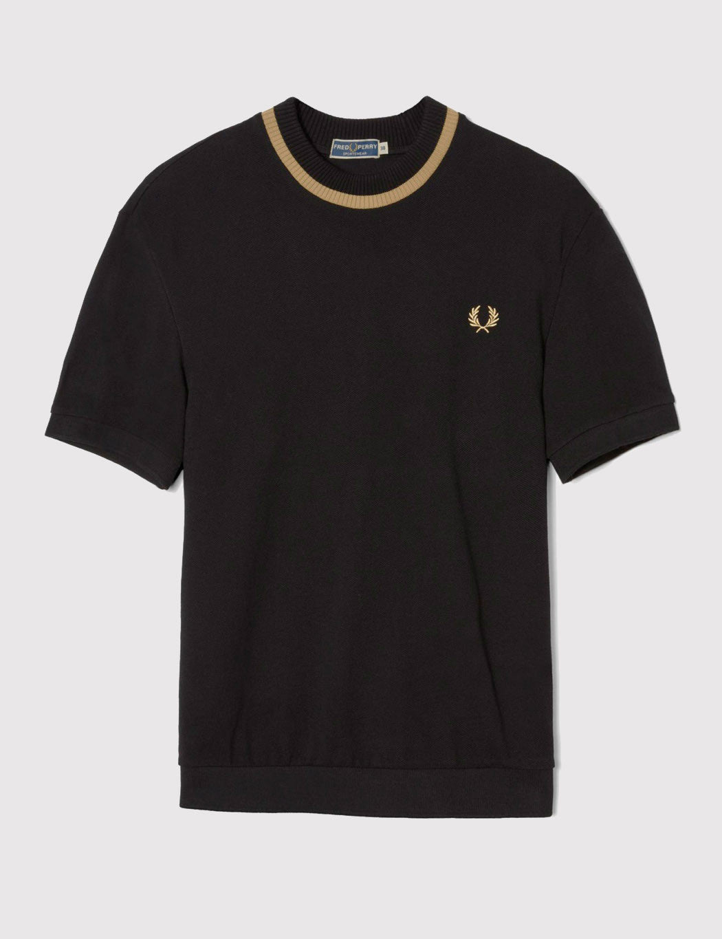 Fred Perry Crew Neck Pique T-Shirt - Black