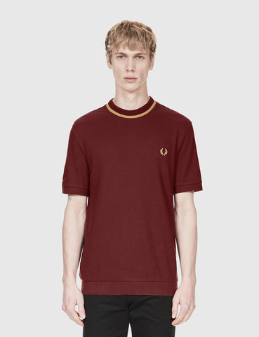 Fred Perry Crew Neck Pique T-Shirt - Aubergine