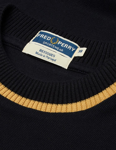 Fred Perry Re-issues L/S Crew Neck Pique T-Shirt - Black/Champagne