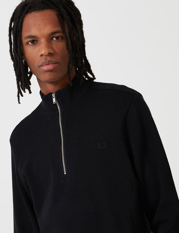 Fred Perry Zip Neck Rib Sweat - Black
