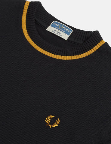 Fred Perry Crew Neck Pique T-Shirt - Black/Gold
