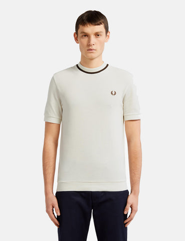 Fred Perry Crew Neck Pique T-Shirt - Snow White/Chocolate Brown