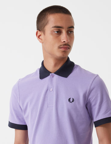 Fred Perry Contrast Rib Pique Shirt - Soft Lilac
