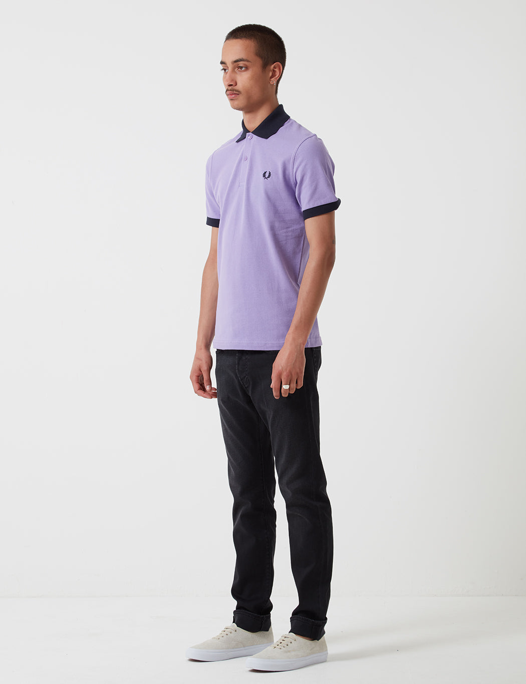 dfb2cd582 ... Fred Perry Contrast Rib Pique Shirt - Soft Lilac ...