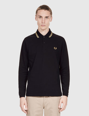 Fred Perry Twin Tipped Long Sleeve Polo Shirt - Black