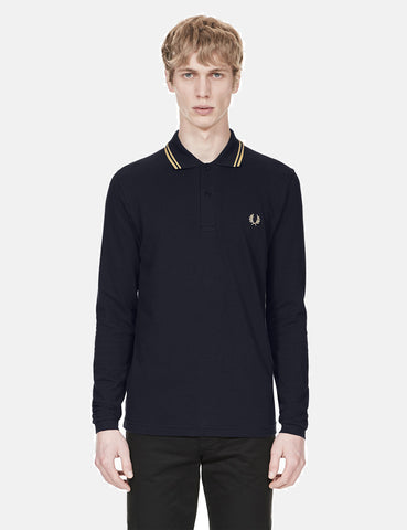 Fred Perry Twin Tipped Long Sleeve Polo Shirt - Navy Blue