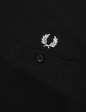 Fred Perry Pocket Detail Pique T-Shirt - Black