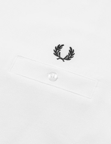 Fred Perry Pocket Detail Pique T-Shirt - Snow White