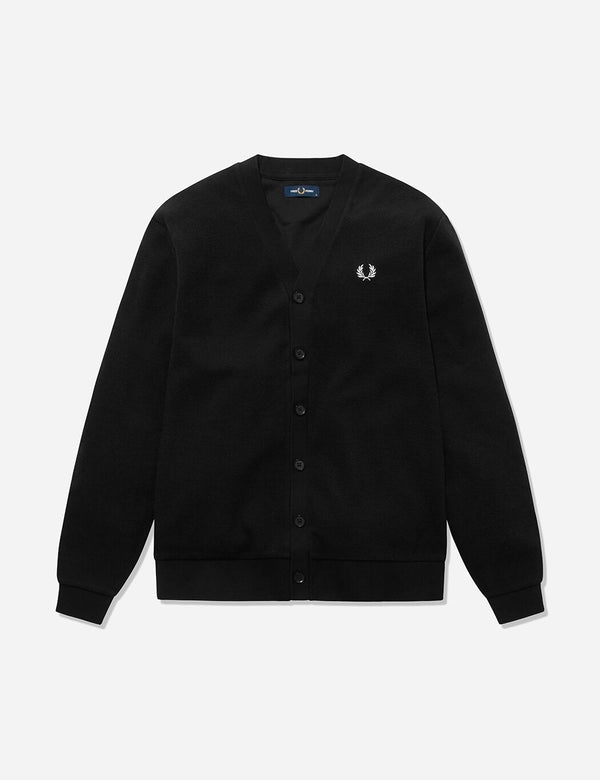 Fred Perry Pique Strickjacke - Schwarz