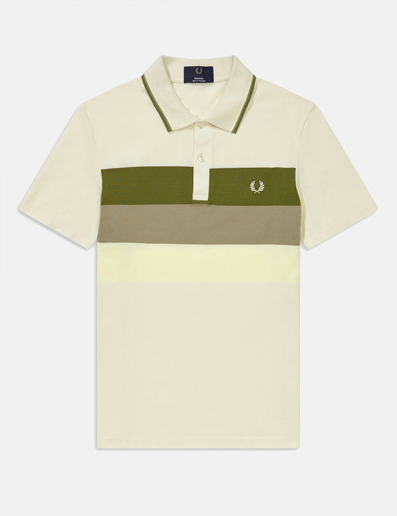Fred Perry Reissues Mesh Panel Tennis Polo Shirt - Ecru