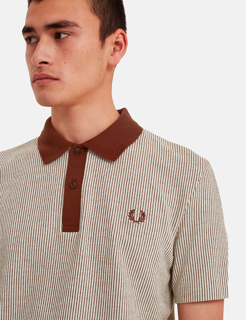 Fred Perry Reissues Vertical Striped Tennis Polo Shirt - Auburn