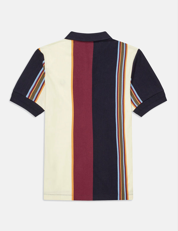 Fred Perry Vertical Stripe Polo Shirt - Navy Blue