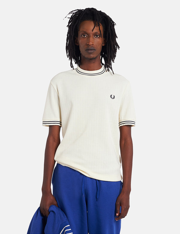 Fred Perry Reissue Crew Neck Pique T-Shirt - Ecru