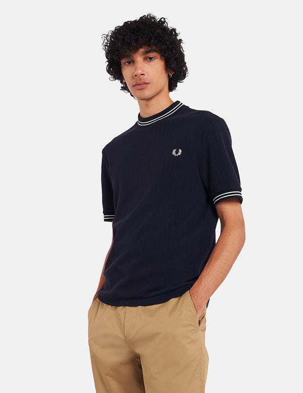 Fred Perry Reissues Crew Neck Pique T-Shirt - Navy Blue