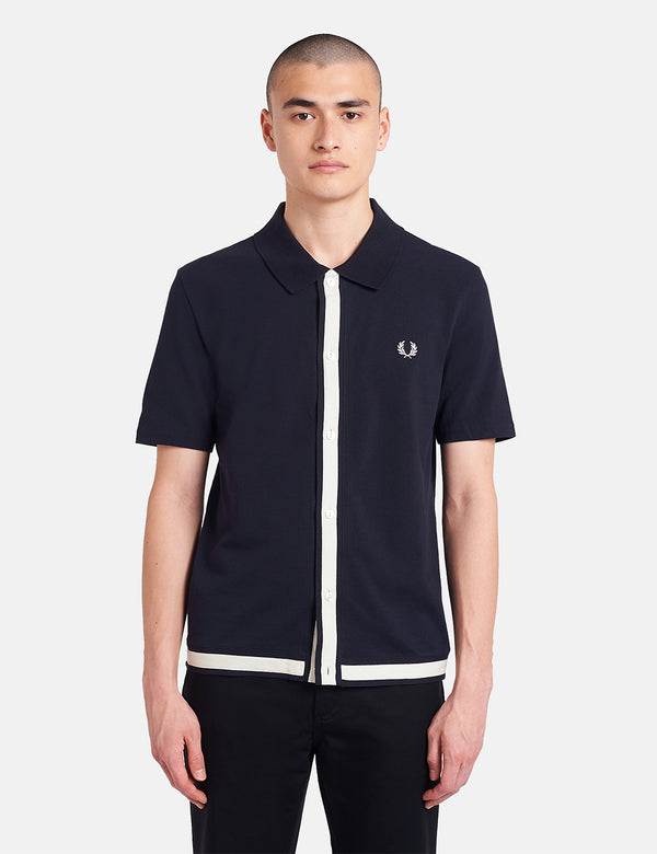Chemise Fred Perry Reissues Pique Button Through - Navy Blue