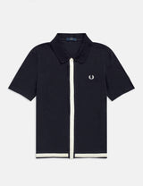 Fred Perry Reissues Pique Button Through Shirt - Navy Blue