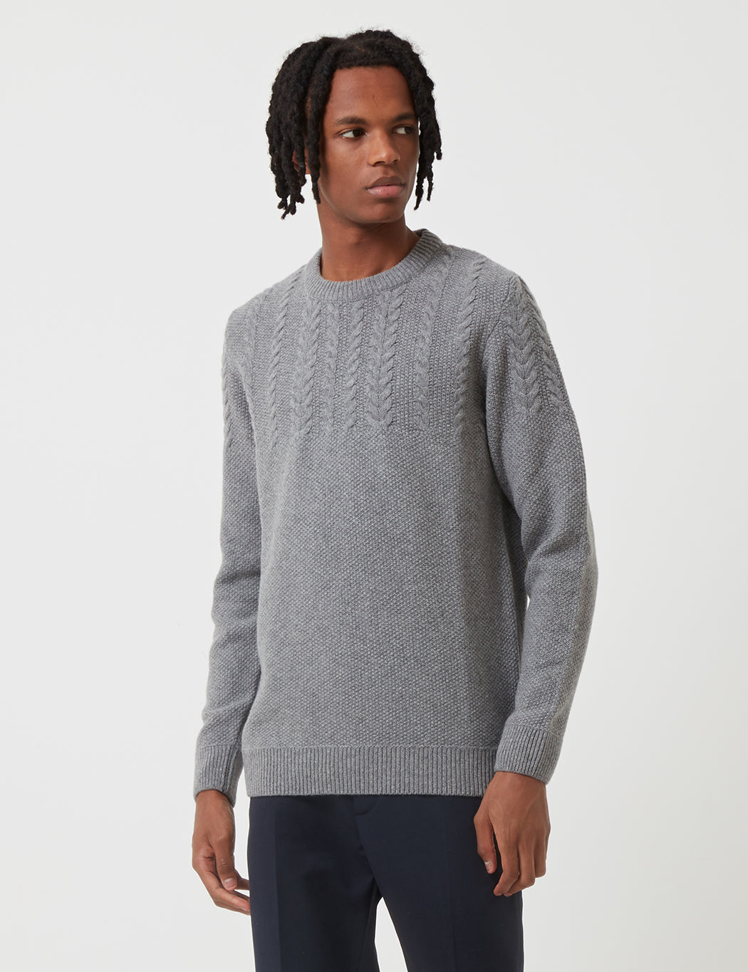 Barbour Crastill Cable Knit Sweatshirt - Grey Marl